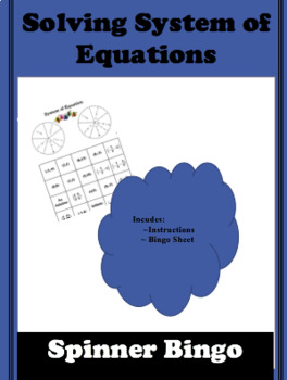 System of Equation Spinner Bingo