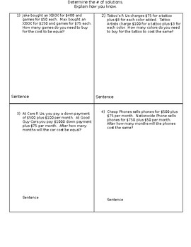 System of Equation Word Problems