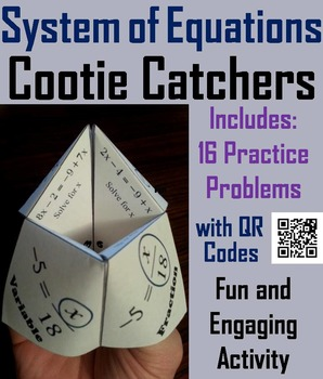 Solving Systems of Equations Practice Activity Game for 7th 8th 9th 10th Grade