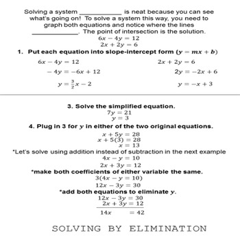 Systems of Equations Flip Book (w/ fill-in-the-blank notes)