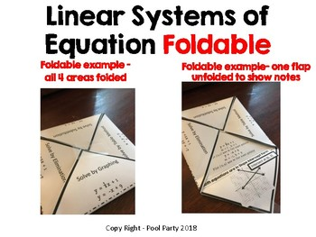 System of Equations (Linear) Foldable