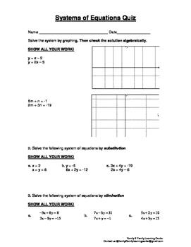 System of Equations Quiz