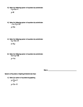 System of Equations Quiz: Graphing and Substitution
