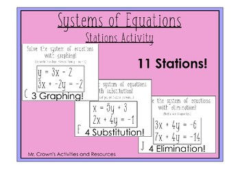 System of Linear Equations - Stations Activity (Does not have ø and ∞)
