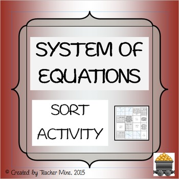 System of Equations Sort Activity