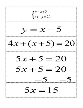 System of Equations Strips (Substitution method)