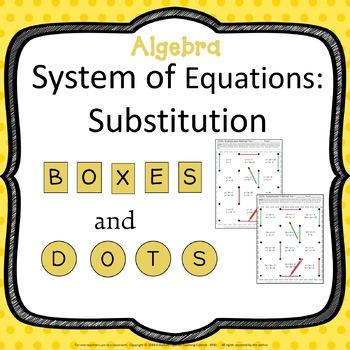 System of Equations: Substitution Method Review Activity Algebra Game