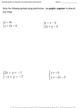 System of Equations: Substitution Organizer, Notes, and Homework