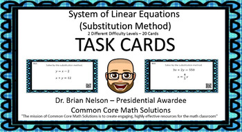 System of Equations (Substitution) - Task Cards  2 different difficulty levels