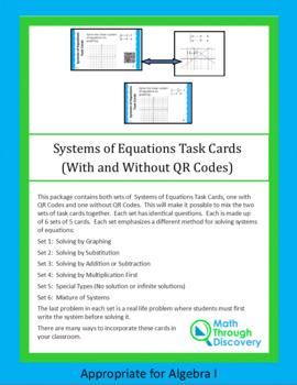 System of Equations Task Cards Bundle