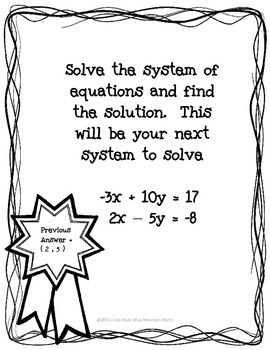 System of Equations Treasure Hunt