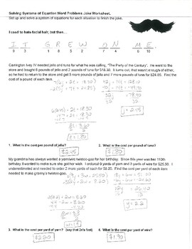 System of Equations Word Problems Joke Worksheet with Answer Key