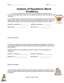 System of Equations Word Problems Practice