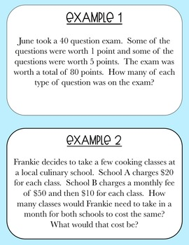 System of Equations Word Problems Station Activity