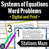 System of Equations Word Problems Stations Maze Activity