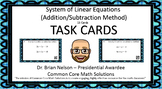 System of Equations with Elimination - Task Cards, video lessons and more!