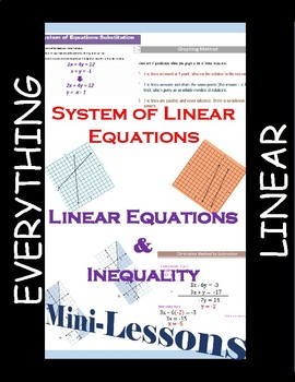 Everything Linear Mini Lessons: Equations, Systems of Equations, Inequalities