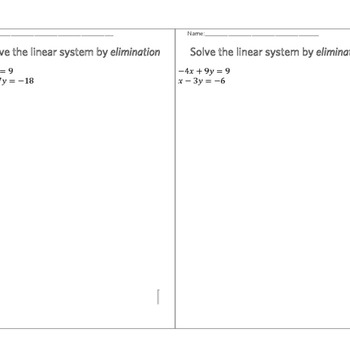 System of Linear Equations Activity
