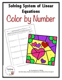 System of Linear Equations Color by Number Activity Valentine's Day Theme