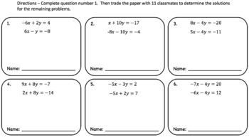 System of Linear Equations (Elimination Method) – Pass the Paper Activity