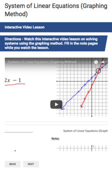 System of Linear Equations (Graphing Method) - Google Form & Video Lesson!