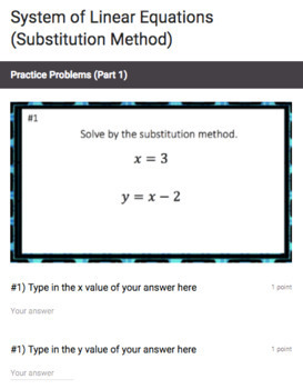 Systems of Linear Equations (Substitution Method) - Google Form & Video Lesson!