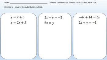 System of Linear Equations (Substitution Method) - PowerPoint & Printables