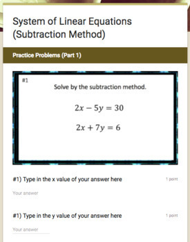 Systems of Linear Equations (Subtraction Method) - Google Form & Video Lesson!