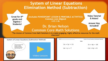System of Linear Equations (Subtraction Method) - PowerPoint & Printables