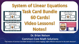 System of Linear Equations Task Card Bundle (Cards, Video Lessons & Notes!)