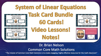 System of Linear Equations Task Card Bundle (Cards, Video