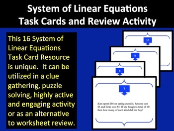 System of Linear Equations Task Cards and Review Activity - Unique