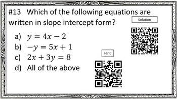 System of Linear Equations with QR Code Answers and Hints!