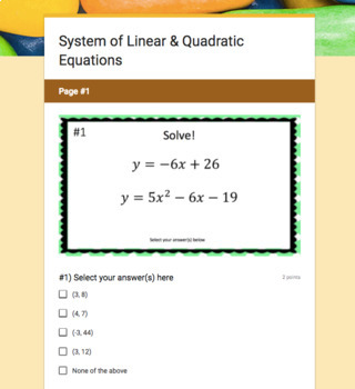 System of Linear & Quadratic Equations (Google Form & Video Lesson!)