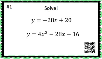 System of Linear & Quadratic Equations - Task Cards & Interactive Video Lesson!