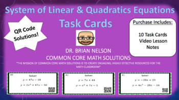 System of Linear & Quadratic Equations - Task Cards & Inte