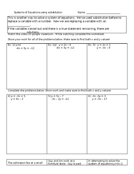 System of equations using substitution guided notes
