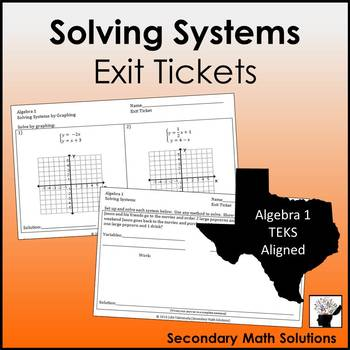 Systems Exit Tickets (or Warm-ups) (A3F, A2I, A5C)