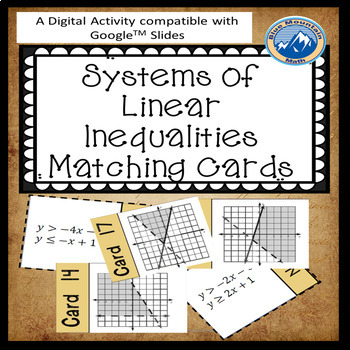 Systems  Linear Inequalities Matching Cards with Graph Google Activity Plus Quiz