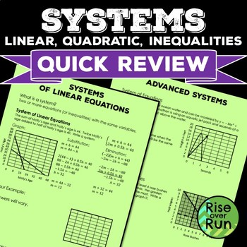 Systems: Linear, Quadratic, and Inequalities, Quick Review Assessments