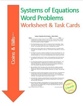 Systems Of Equations - Coins and Bills - Worksheet Assessment Task Cards