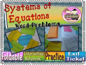 Systems Of Equations Word Problems Foldable, INB Activity, Practice, & Exit