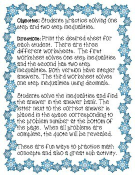 One Step and Two Step Inequalities Winter Riddle