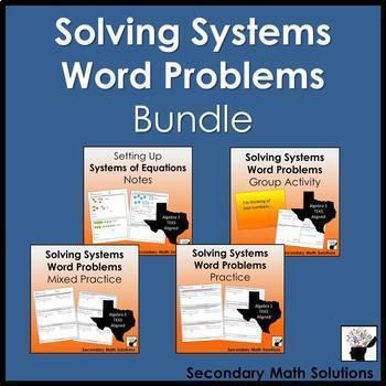 Systems Word Problems Mini-Bundle (A5C, A2I, A3F)