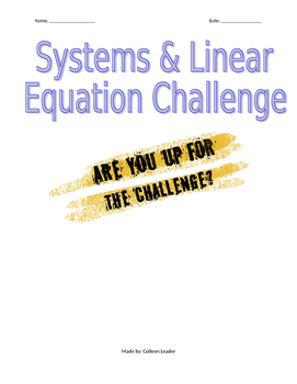 Systems and Linear Equations Challenge