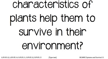 Systems and Survival I Can and Essential Questions for Posting in Classroom