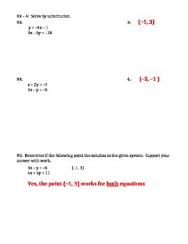 Systems by Graphing & Substitution Check In