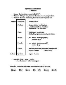 Systems of Classification:  The 7 divisions explained