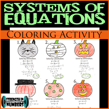 Systems of Equatioins Halloween Jack-O-Lantern Coloring Activity