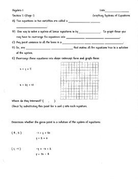 Systems of Equation Unit warm up guided notes graphing calculator consistent